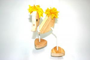 Puppet - Walking Duck Marionette with Yellow Hair