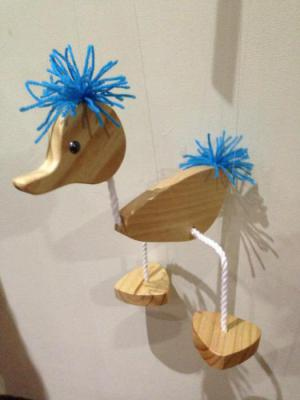Puppet - Walking Duck Marionette with Blue Hair