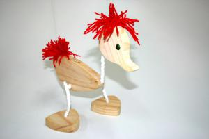 Puppet - Walking Duck Marionette with Red Hair