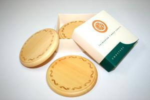 Huon Pine Engraved Coaster Set